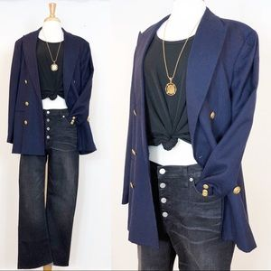 Vintage Oversized Blazer • Navy Blue Gold Buttons